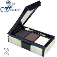 Ffleur - Тени-корректор для бровей и век Trio Eyebrow EB-06 Тон 02 серые, корич, кремовые