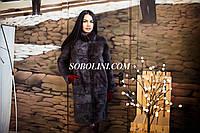 Классическая шуба из скандинавской норки, цвет шоколад, воротник стойка, в наличии