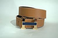 Ремень мужской кожа Hermes светло- коричневый