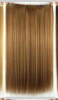 Волосы на заколках 45 см Накладные волосы ТЕРМОСТОЙКИЕ на заколках русый Тиара Виктория тресс