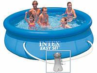 Надувной бассейн Intex 28142 с надувным верхним кольцом + фильтр-насос (396х84см)