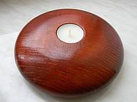 Подсвечник ручной роботы из дерева, покрыт лаком, для чайной свечи