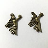 Металлическая подвеска Ангелок. Цвет античная бронза. 27х24мм
