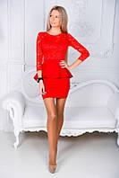 Стильное молодежное красное платье баска с рукавом.Ткань дайвинг,гипюр.