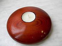 Современный стильный подсвечник, из натурального дерева, покрыт лаком, для чайной свечи