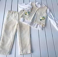 Детский нарядный костюм - жилетка, рубашка , брюки -  для  девочки на 2 - 4 года