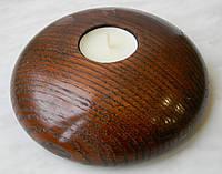 Стильный подсвечник, из натурального дерева, покрыт лаком, для чайной свечи