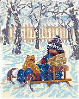 """Схема для вышивки бисером на атласе """"Пришла зима"""""""