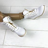 Белые ботинки женские в стиле Balmain ,цвет пудра,белые с перфорацией