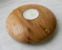 Новый подсвечник для декора, дерево, покрыт лаком, в комплекте чайная свеча