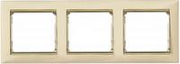 Рамка 3 поста слоновая кость/золотой штрих Legrand Valena 774153