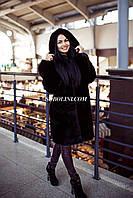 Восхитительная шуба из меха норки примерка в шоу руме Харькова с капюшоном, цвет темный шоколад, в наличии