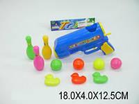 Набор для боулинга, пистолет с шарами, кегли, уточки, в п/э 18х4х12 /240/