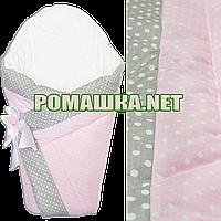 Демисезонный конверт-плед на выписку верх, подкладка 100% хлопок утеплитель холлофайбер 90х90 2910ДМ Розовый