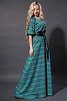 Бирюзовое молодежное платье с карманами