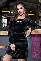 """Платье из бархата со шнуровкой черное мини """"Марго"""" SMY1104"""