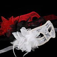 Белая ажурная кружевная маска на каркасе для лица, девичник,корпоратив, романтика