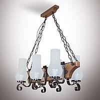 Люстра деревянная, 6-ти ламповая, керосинка  14909