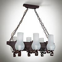 Люстра деревянная, 6-ти ламповая, керосинка  14909-1