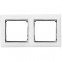 Рамка 2 поста белый/серебряный штрих Legrand Valena 770492