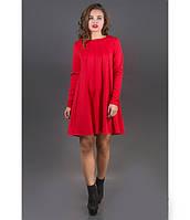 Платье с декоративными строчками Сити красный р.44-52