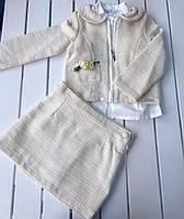 Детский нарядный костюм - кофта , рубашка , юбка - для девочки на 2 - 3 года