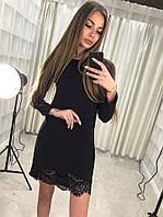 """Платье женское короткое Французский трикотаж, кружево """"вуаль"""" серый, черный ля № комильфо"""