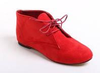 Ботинки замшевые красные