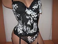 Корсет с бикини черный с белыми цветами сетка 70С