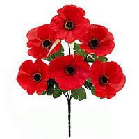 Букет искусственных цветов Мак красный , 34 см