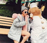 Куртка парка женская, на  розовом меху, цвет  светло-серый