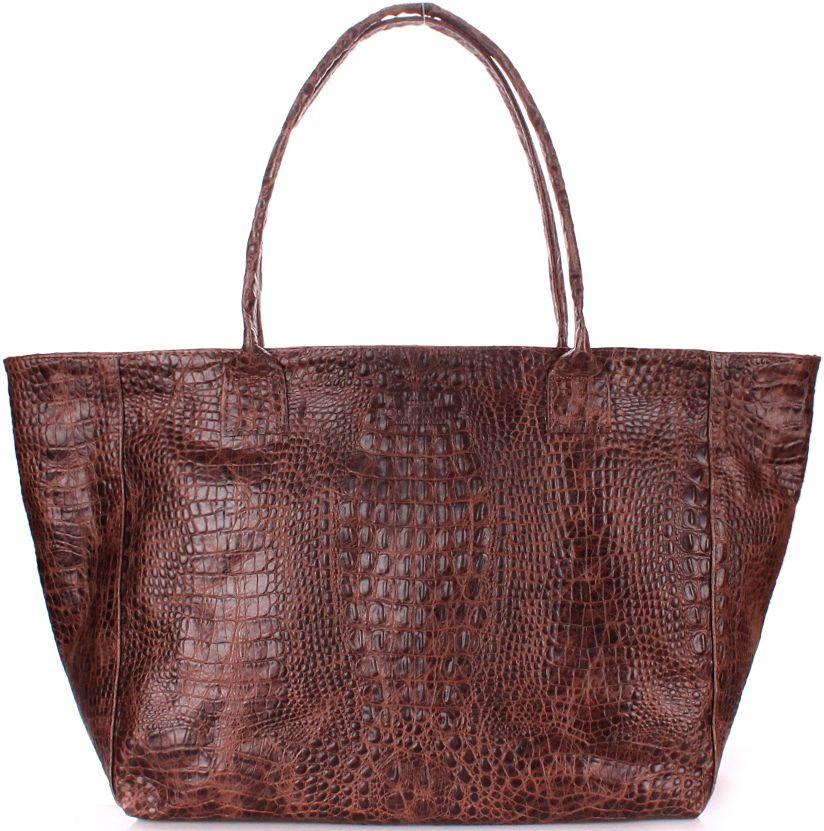 Жіноча сумка зі шкіри POOLPARTY poolparty-desire-croco-brown