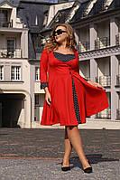Комбинированное платье большого размера с расклешенным низом