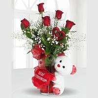 5 красных роз и мишка