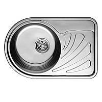 Кухонная мойка врезная 6745 см Platinum сатин 0,8 мм глубина 20 см