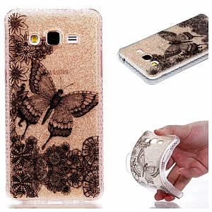 Чехол накладка для Samsung Galaxy J2 Prime G532 силиконовый IMD, Черная бабочка и цветы