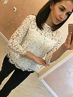 Красивая женская блуза,ткань гипюр,цвет черный,молоко
