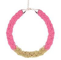 Ожерелье Чешские бусы розовое/бижутерия/цвет цепочки золото
