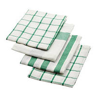 "IKEA ""ЭЛЛИ"" Полотенце кухонное, белый, зеленый, набор 4 шт., 50x65 см"