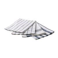 """IKEA """"ЭЛЛИ"""" Полотенце кухонное, белый, синий, набор 4 шт., 50x65 см"""