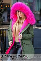 Женская куртка-парка хаки с опушкой малина