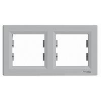 Schneider Electric Asfora Алюминий Двойная горизонтальная рамка