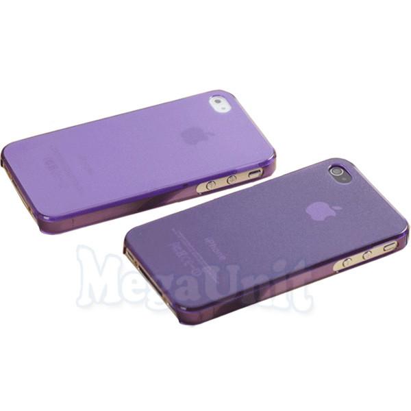 Ультратонкий пластиковый чехол для Apple iPhone 4/4S (+пленка) Фиолетовый