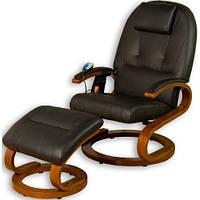 Кресло черное для отдыха с массажем + пуф + обогрев