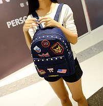 Молодежный джинсовый рюкзак с нашивками и заклепками, фото 3
