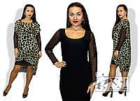 Модное женское платье с накидкой принт лео батал / Украина / микромасло