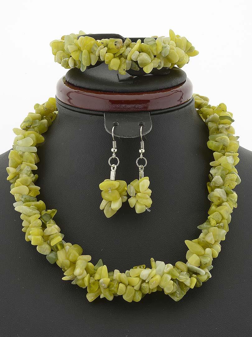 Комплект с хризолитом крошка камня, Желтый пышные украшения из натурального камня № 035086