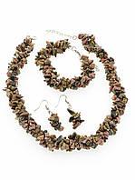 Комплект с родонитом крошка камня, Розовый пышные украшения из натурального камня № 035090