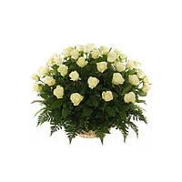 """Корзина белых роз """"Avalanche"""""""