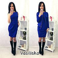 Костюм женский трикотажный платье и пиджак 5 цветов SMV1106